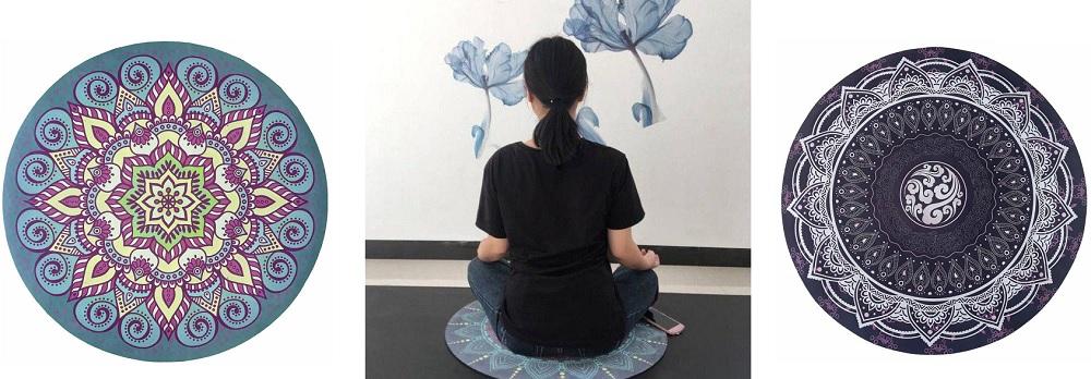 Mandalové podložky na jógu v kruhovém provedení